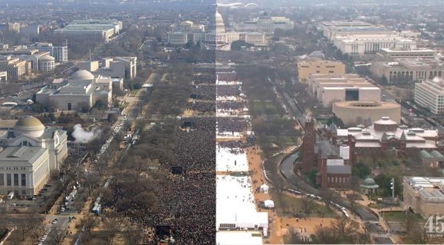 左)オバマ就任式、右)トランプ就任式